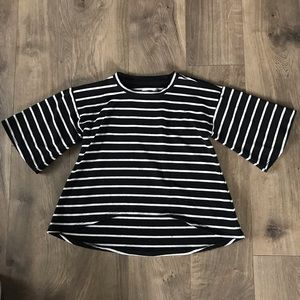 Black and white striped high low shirt